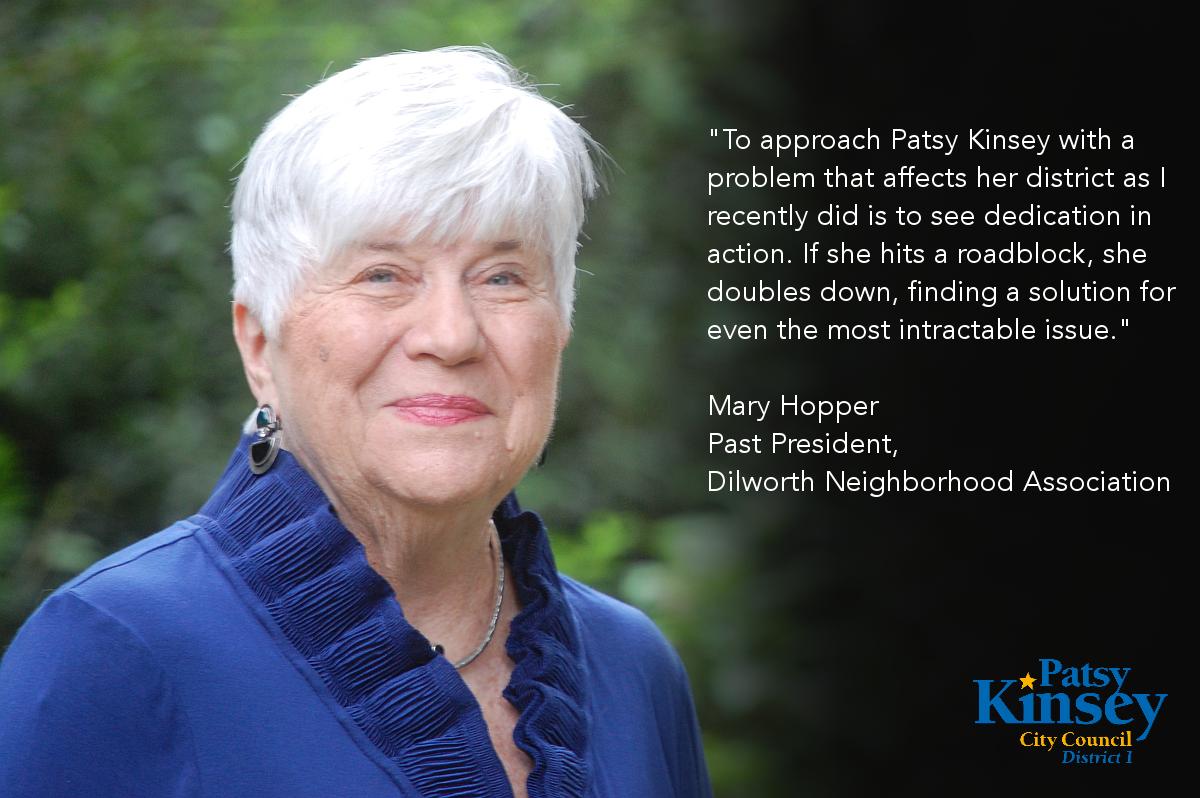 Mary Hopper endorses Patsy Kinsey