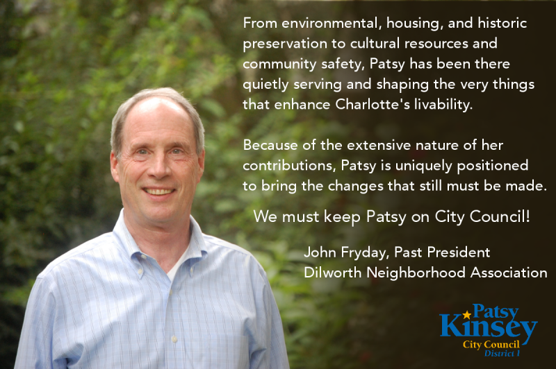 John Fryday endorses Patsy Kinsey for Charlotte City Council
